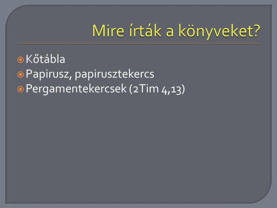  Kőtábla  Papirusz, papirusztekercs  Pergamentekercsek (2Tim 4,13)