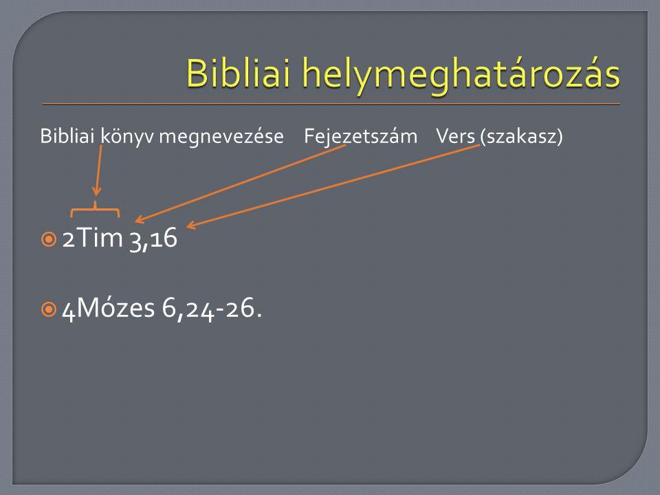 Bibliai könyv megnevezéseFejezetszámVers (szakasz)  2Tim 3,16  4Mózes 6,24-26.