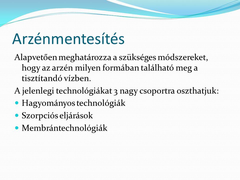 Arzénmentesítés Alapvetően meghatározza a szükséges módszereket, hogy az arzén milyen formában található meg a tisztítandó vízben. A jelenlegi technol