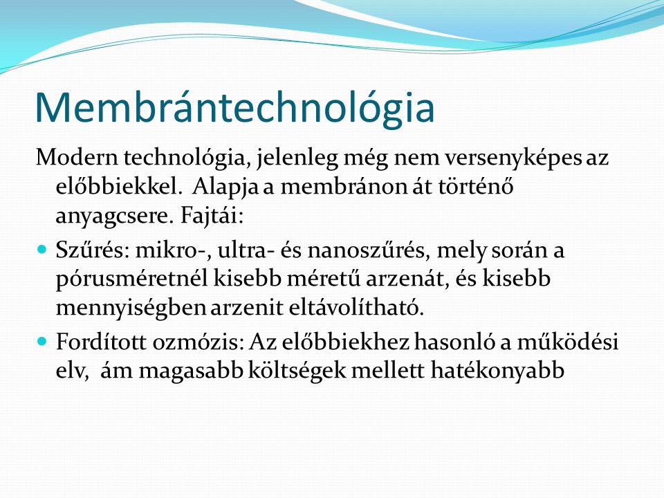 Membrántechnológia Modern technológia, jelenleg még nem versenyképes az előbbiekkel. Alapja a membránon át történő anyagcsere. Fajtái: Szűrés: mikro-,