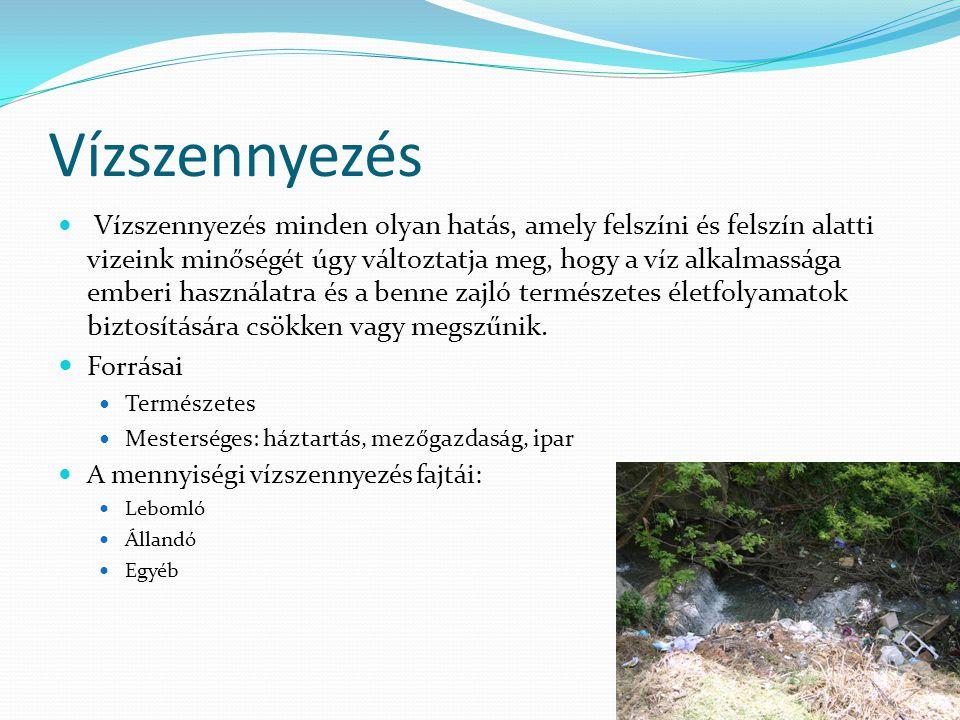 Vízszennyezés Vízszennyezés minden olyan hatás, amely felszíni és felszín alatti vizeink minőségét úgy változtatja meg, hogy a víz alkalmassága emberi használatra és a benne zajló természetes életfolyamatok biztosítására csökken vagy megszűnik.
