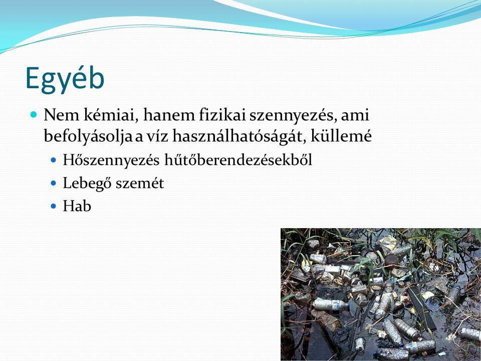 Egyéb Nem kémiai, hanem fizikai szennyezés, ami befolyásolja a víz használhatóságát, küllemé Hőszennyezés hűtőberendezésekből Lebegő szemét Hab
