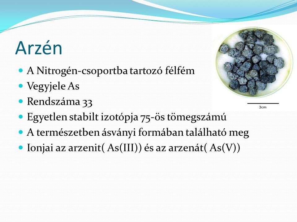 Arzén A Nitrogén-csoportba tartozó félfém Vegyjele As Rendszáma 33 Egyetlen stabilt izotópja 75-ös tömegszámú A természetben ásványi formában található meg Ionjai az arzenit( As(III)) és az arzenát( As(V))