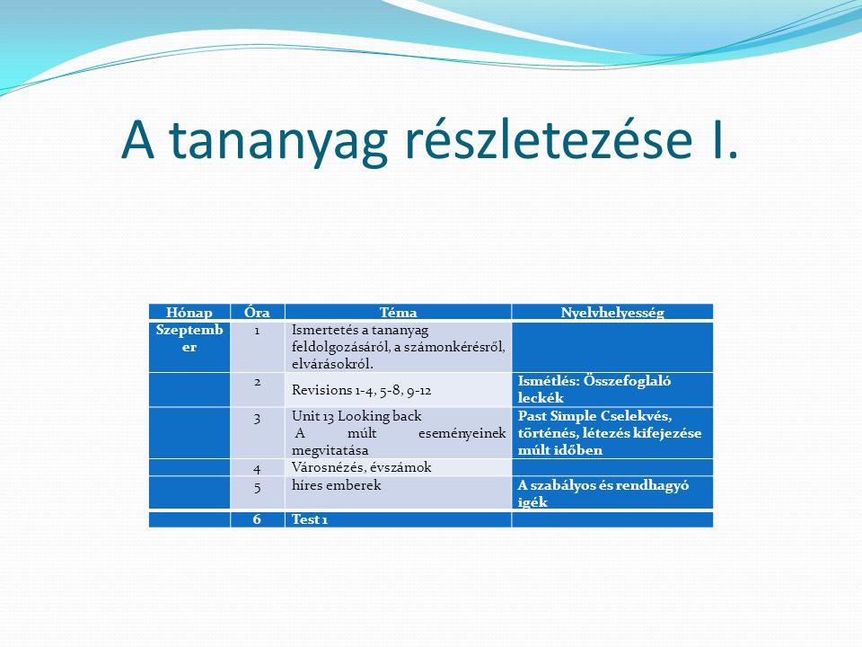 A tananyag részletezése I.