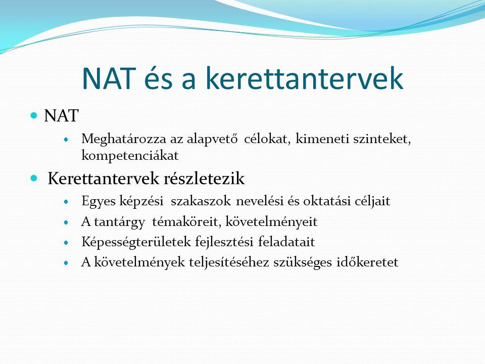NAT és a kerettantervek NAT Meghatározza az alapvető célokat, kimeneti szinteket, kompetenciákat Kerettantervek részletezik Egyes képzési szakaszok nevelési és oktatási céljait A tantárgy témaköreit, követelményeit Képességterületek fejlesztési feladatait A követelmények teljesítéséhez szükséges időkeretet