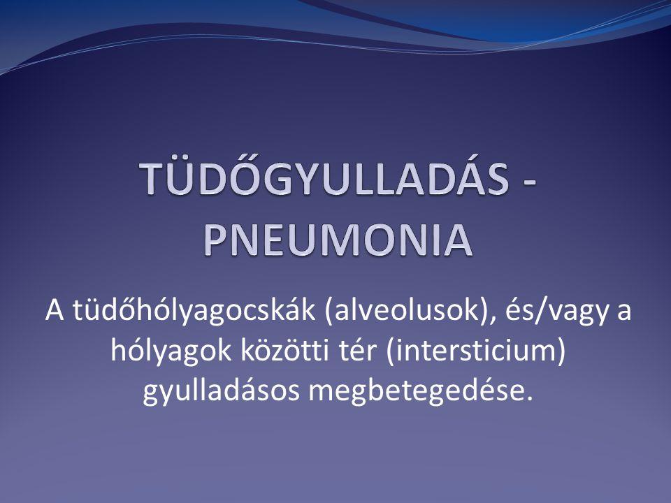 A tüdőhólyagocskák (alveolusok), és/vagy a hólyagok közötti tér (intersticium) gyulladásos megbetegedése.