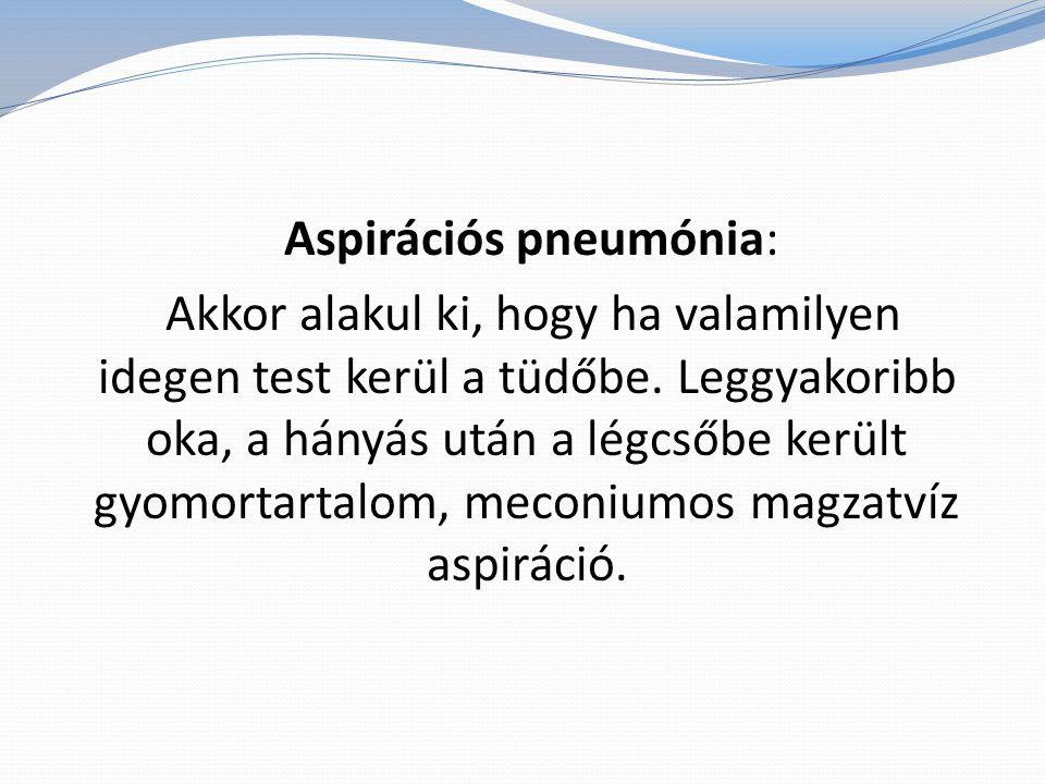 Aspirációs pneumónia: Akkor alakul ki, hogy ha valamilyen idegen test kerül a tüdőbe. Leggyakoribb oka, a hányás után a légcsőbe került gyomortartalom