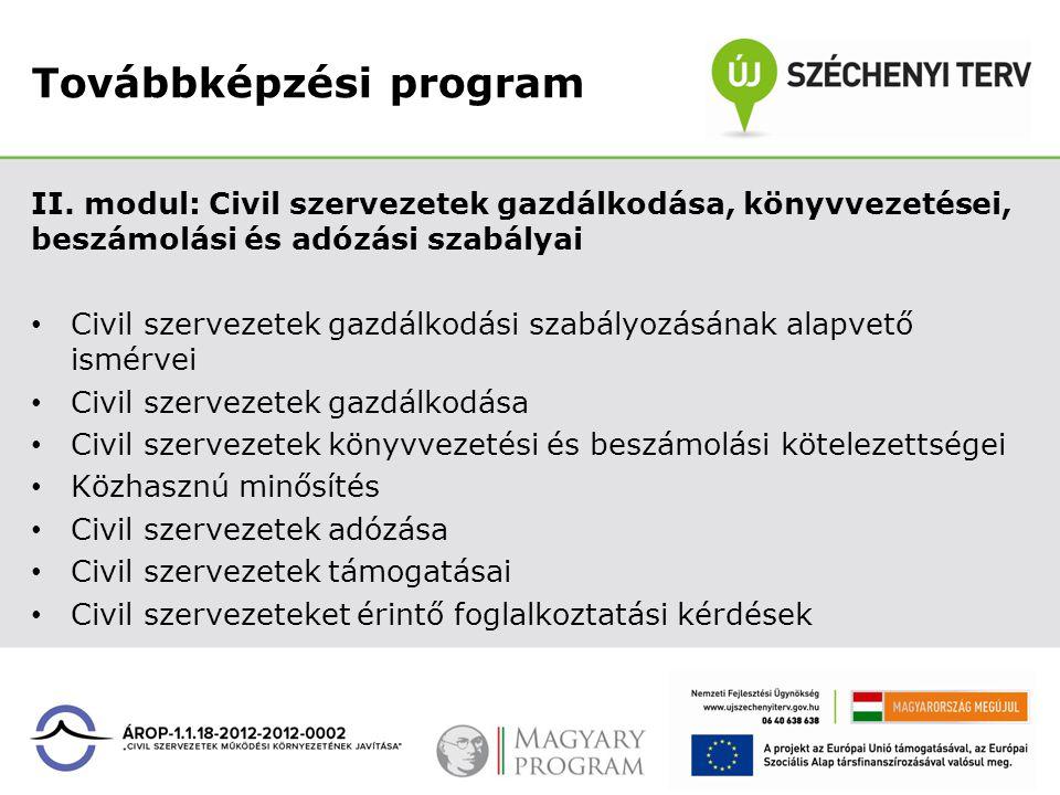 Továbbképzési program II. modul: Civil szervezetek gazdálkodása, könyvvezetései, beszámolási és adózási szabályai Civil szervezetek gazdálkodási szabá