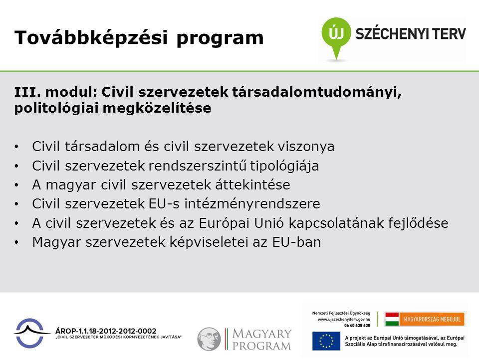 Továbbképzési program III. modul: Civil szervezetek társadalomtudományi, politológiai megközelítése Civil társadalom és civil szervezetek viszonya Civ
