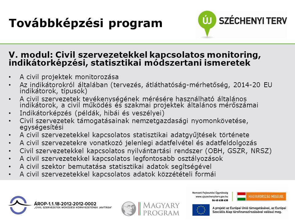 Továbbképzési program V. modul: Civil szervezetekkel kapcsolatos monitoring, indikátorképzési, statisztikai módszertani ismeretek A civil projektek mo
