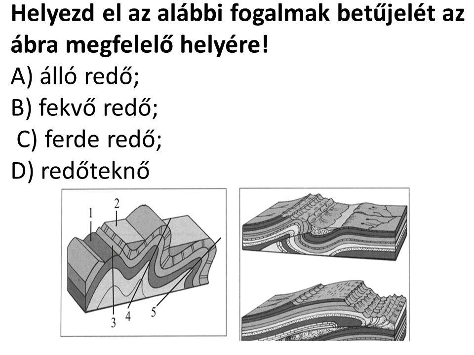 Helyezd el az alábbi fogalmak betűjelét az ábra megfelelő helyére! A) álló redő; B) fekvő redő; C) ferde redő; D) redőteknő