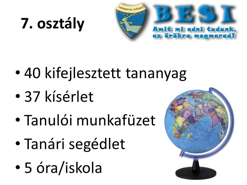 7. osztály 40 kifejlesztett tananyag 37 kísérlet Tanulói munkafüzet Tanári segédlet 5 óra/iskola