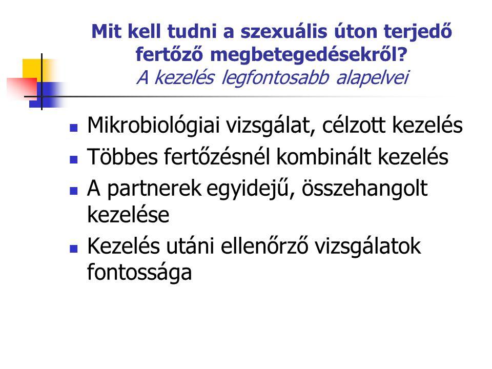 Mit kell tudni a szexuális úton terjedő fertőző megbetegedésekről? A kezelés legfontosabb alapelvei Mikrobiológiai vizsgálat, célzott kezelés Többes f