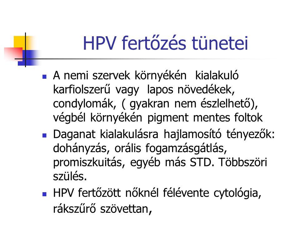 HPV fertőzés tünetei A nemi szervek környékén kialakuló karfiolszerű vagy lapos növedékek, condylomák, ( gyakran nem észlelhető), végbél környékén pig
