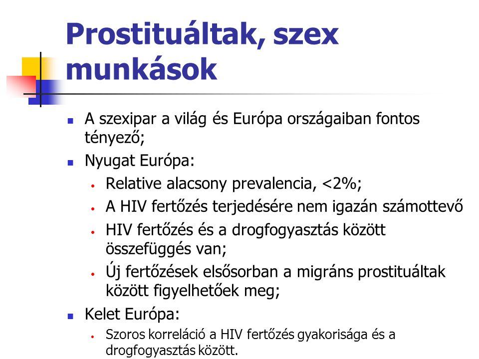 Prostituáltak, szex munkások A szexipar a világ és Európa országaiban fontos tényező; Nyugat Európa: Relative alacsony prevalencia, <2%; A HIV fertőzé