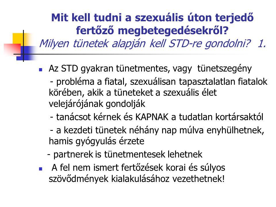 Mit kell tudni a szexuális úton terjedő fertőző megbetegedésekről? Milyen tünetek alapján kell STD-re gondolni? 1. Az STD gyakran tünetmentes, vagy tü