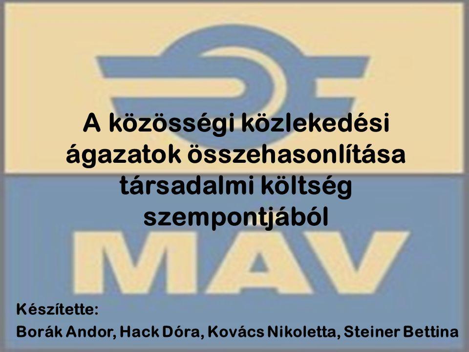 A közösségi közlekedési ágazatok összehasonlítása társadalmi költség szempontjából Készítette: Borák Andor, Hack Dóra, Kovács Nikoletta, Steiner Betti