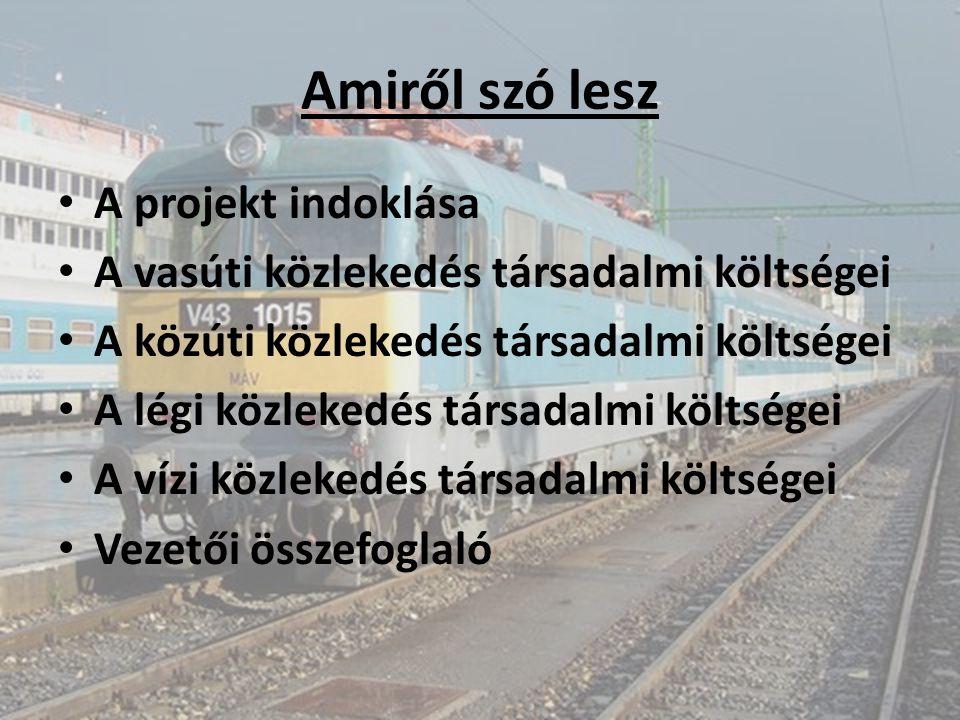 Amiről szó lesz A projekt indoklása A vasúti közlekedés társadalmi költségei A közúti közlekedés társadalmi költségei A légi közlekedés társadalmi köl