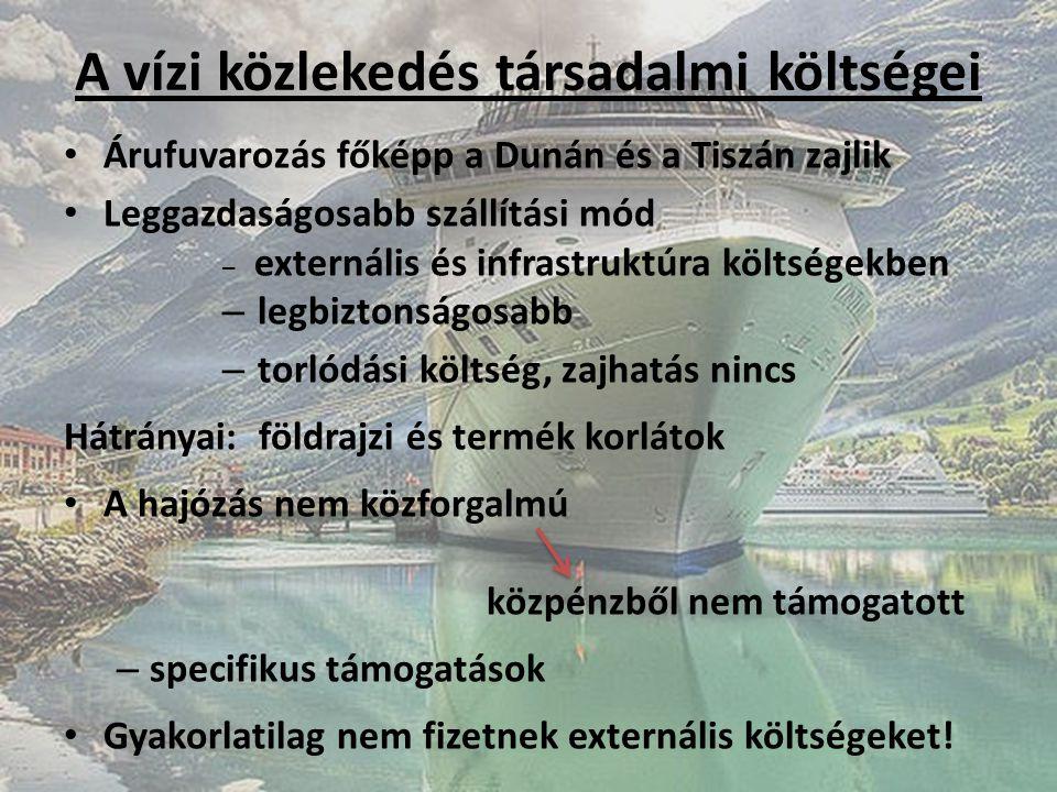 A vízi közlekedés társadalmi költségei Árufuvarozás főképp a Dunán és a Tiszán zajlik Leggazdaságosabb szállítási mód – externális és infrastruktúra k
