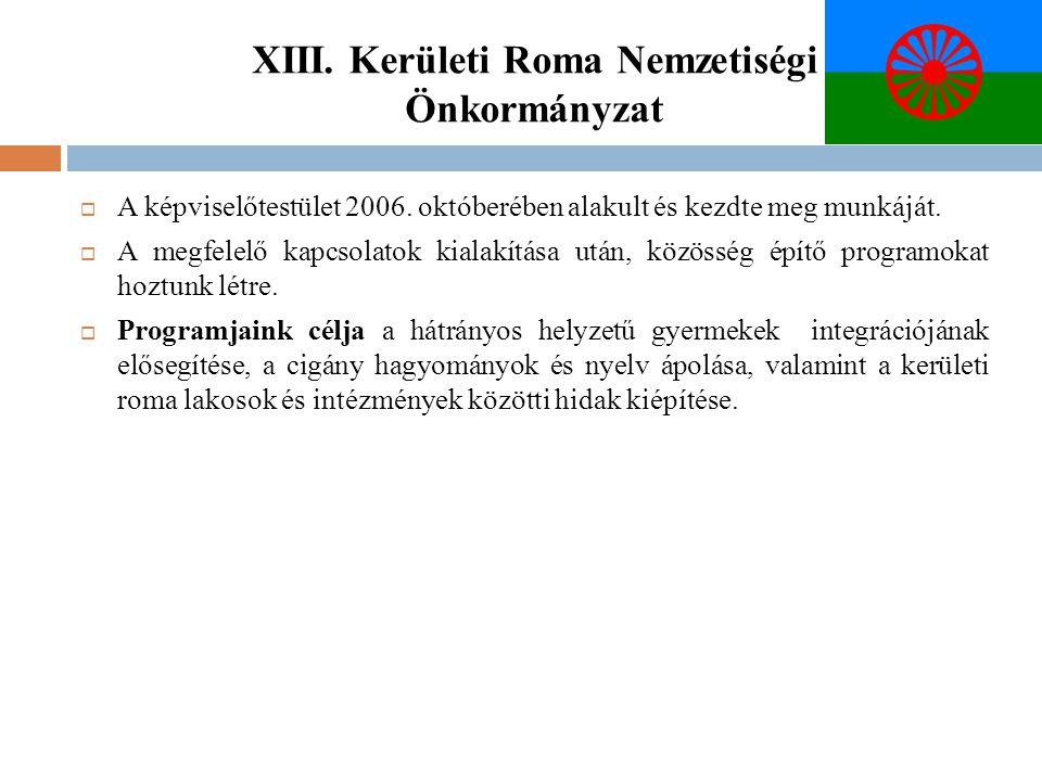 XIII. Kerületi Roma Nemzetiségi Önkormányzat  A képviselőtestület 2006. októberében alakult és kezdte meg munkáját.  A megfelelő kapcsolatok kialakí