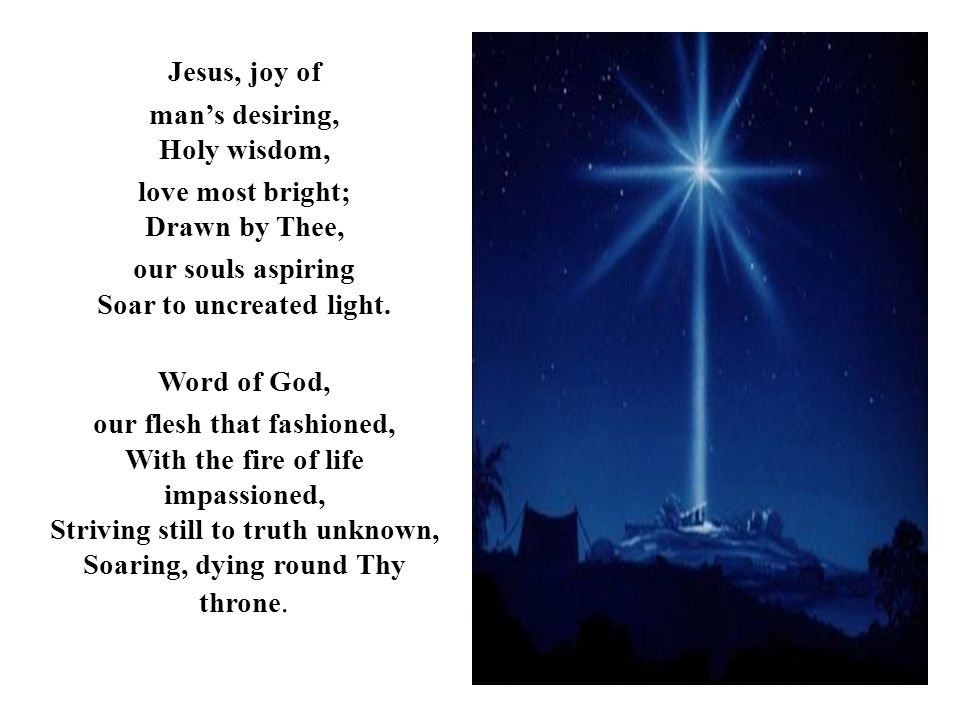 Jesus, joy of man's desiring, Holy wisdom, love most bright; Drawn by Thee, our souls aspiring Soar to uncreated light.