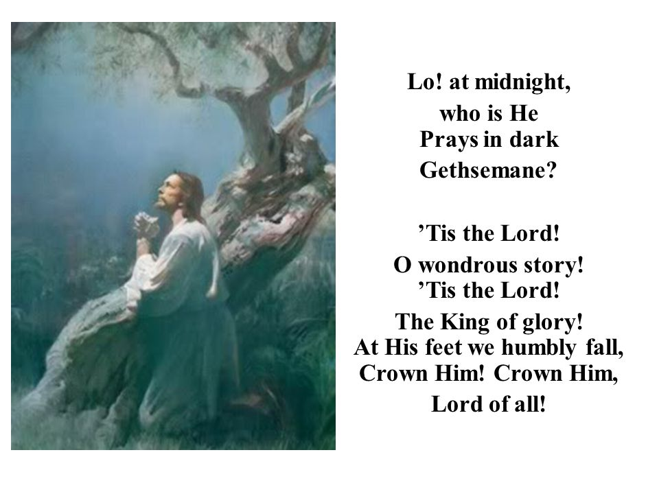 Lo! at midnight, who is He Prays in dark Gethsemane? 'Tis the Lord! O wondrous story! 'Tis the Lord! The King of glory! At His feet we humbly fall, Cr