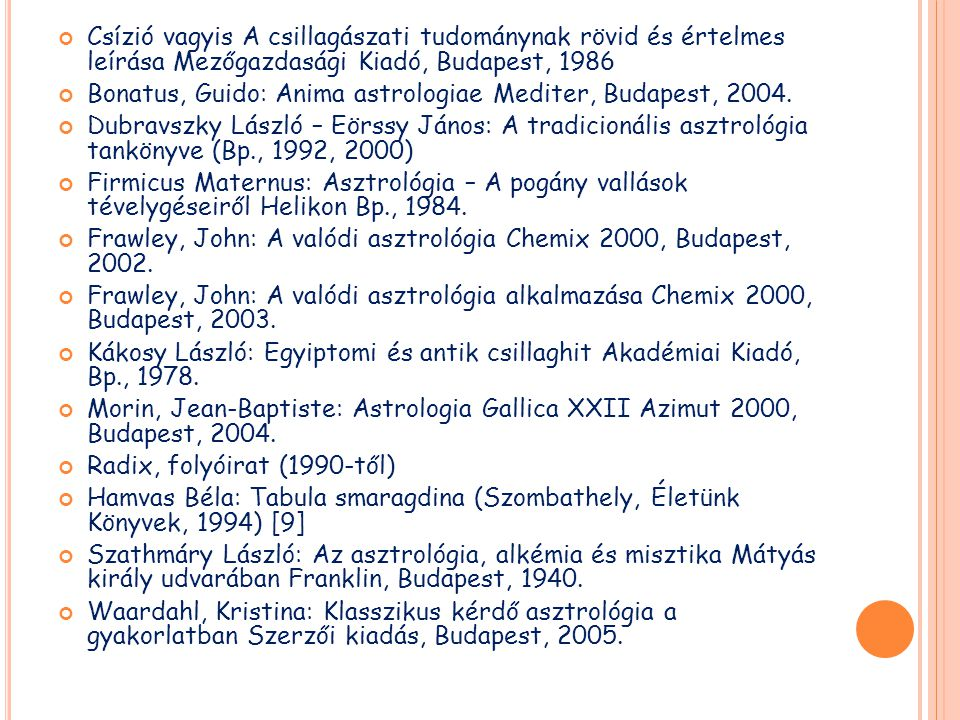 Csízió vagyis A csillagászati tudománynak rövid és értelmes leírása Mezőgazdasági Kiadó, Budapest, 1986 Bonatus, Guido: Anima astrologiae Mediter, Bud