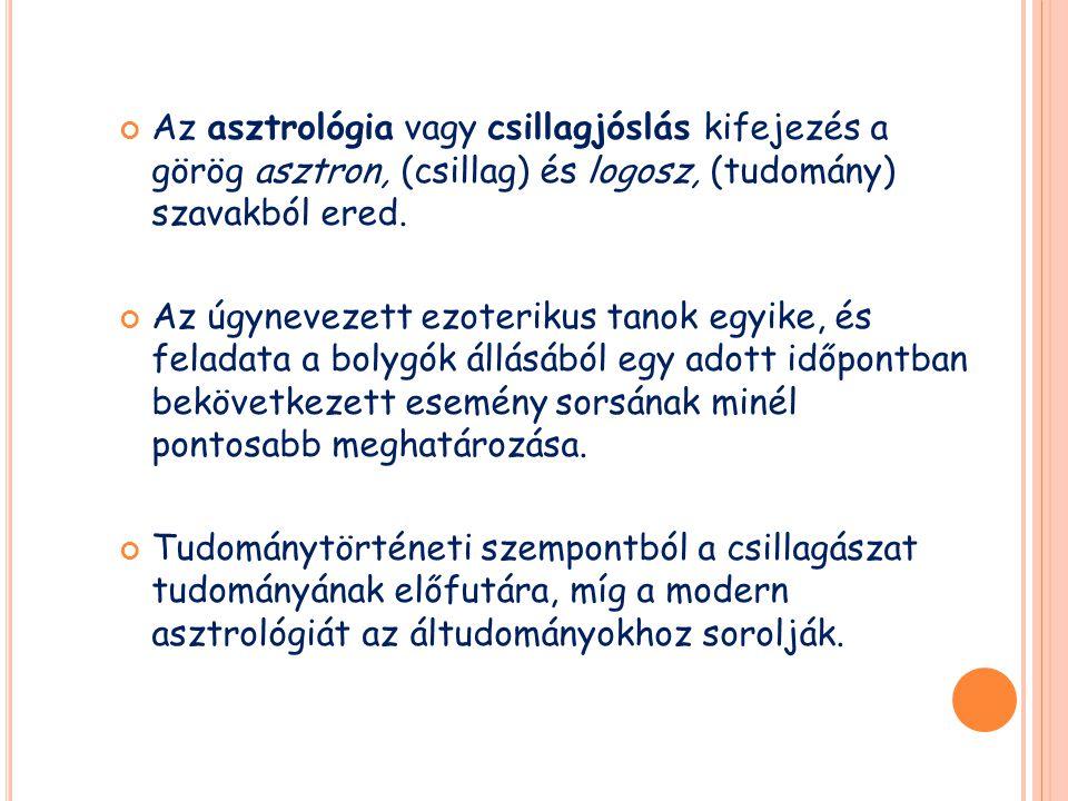 Az asztrológia vagy csillagjóslás kifejezés a görög asztron, (csillag) és logosz, (tudomány) szavakból ered. Az úgynevezett ezoterikus tanok egyike, é