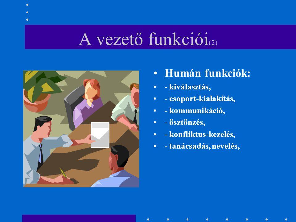 Humán funkciók: - kiválasztás, - csoport-kialakítás, - kommunikáció, - ösztönzés, - konfliktus-kezelés, - tanácsadás, nevelés, A vezető funkciói (2)