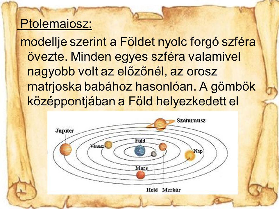 Ptolemaiosz: modellje szerint a Földet nyolc forgó szféra övezte.