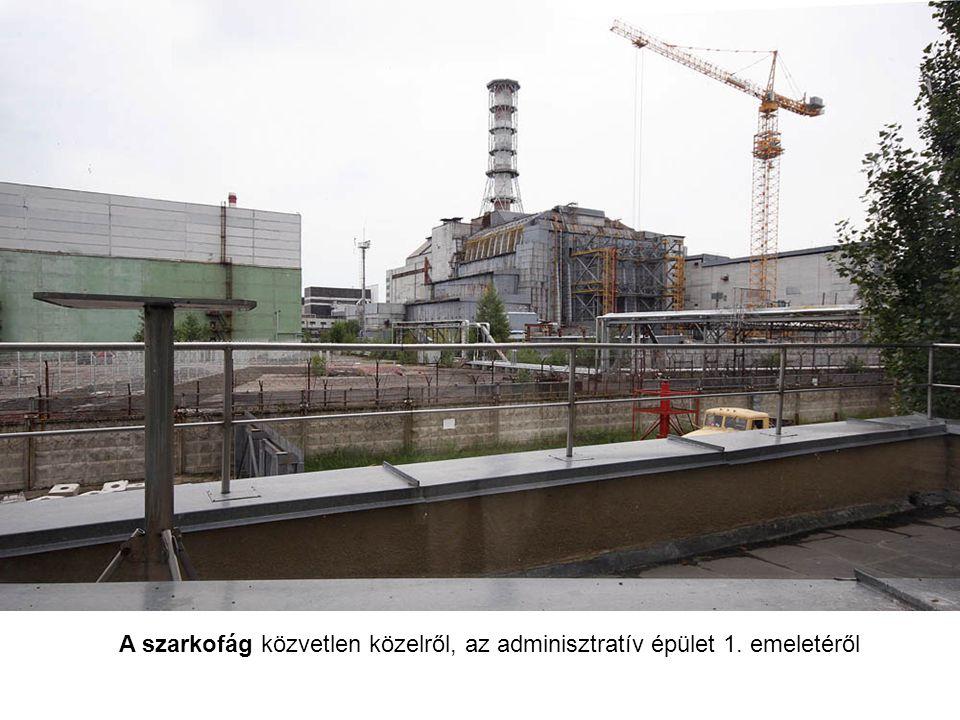 A szarkofág és a reaktor metszete.