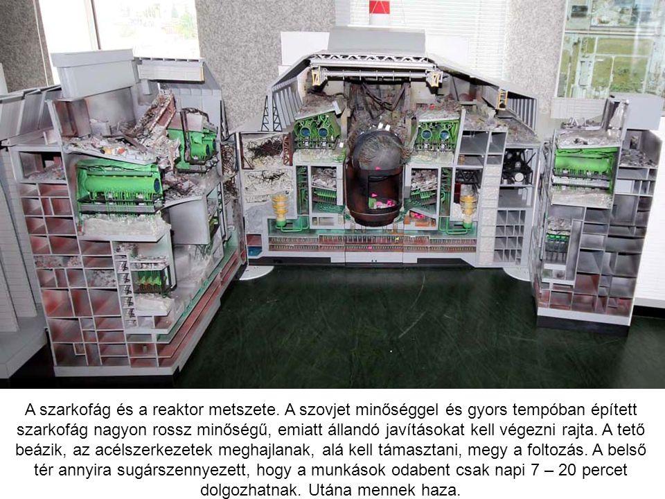 A szarkofág és a reaktor metszete. A szovjet minőséggel és gyors tempóban épített szarkofág nagyon rossz minőségű, emiatt állandó javításokat kell vég