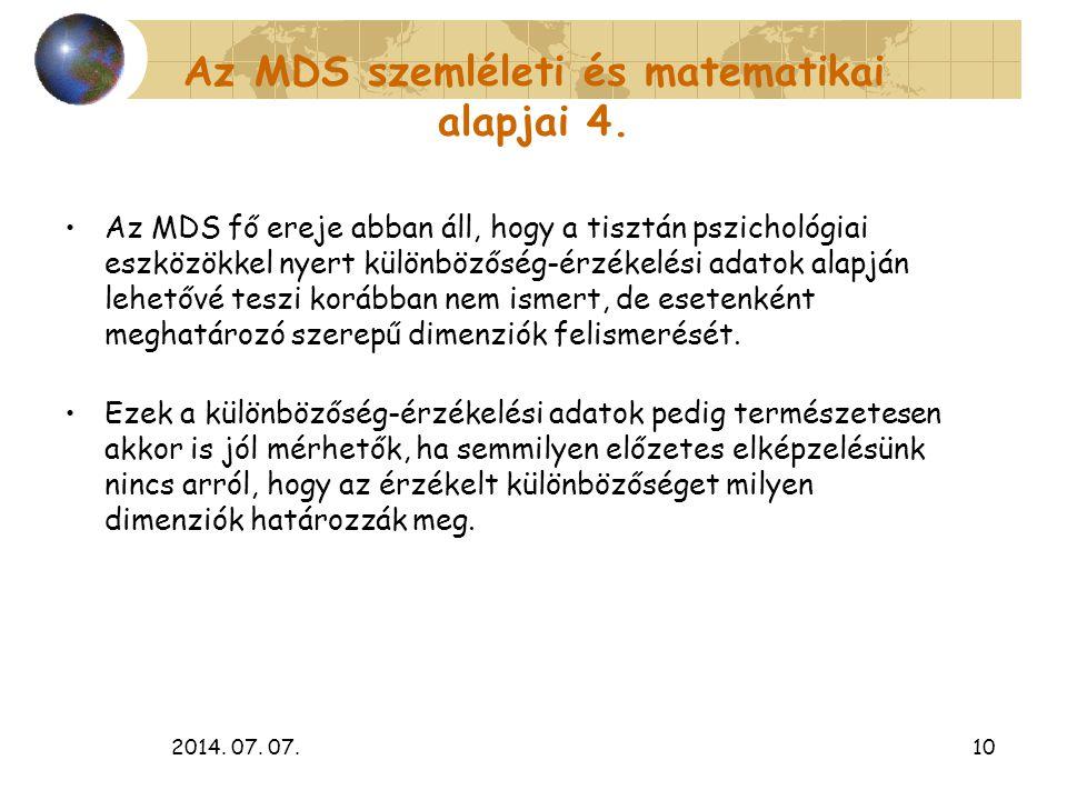 2014. 07. 07.10 Az MDS szemléleti és matematikai alapjai 4. Az MDS fő ereje abban áll, hogy a tisztán pszichológiai eszközökkel nyert különbözőség-érz