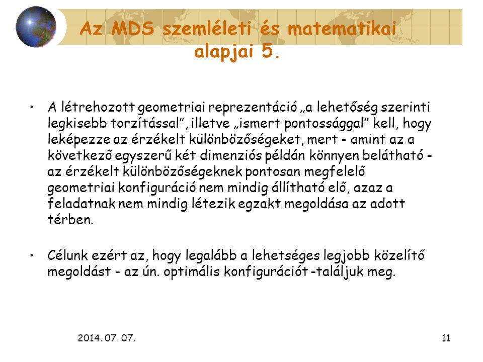 """2014. 07. 07.11 Az MDS szemléleti és matematikai alapjai 5. A létrehozott geometriai reprezentáció """"a lehetőség szerinti legkisebb torzítással"""", illet"""