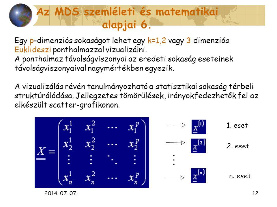 2014. 07. 07.12 Egy p-dimenziós sokaságot lehet egy k=1,2 vagy 3 dimenziós Euklideszi ponthalmazzal vizualizálni. A ponthalmaz távolságviszonyai az er
