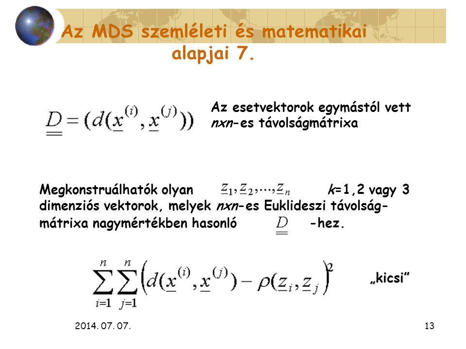 2014. 07. 07.13 Az esetvektorok egymástól vett nxn-es távolságmátrixa Megkonstruálhatók olyan k=1,2 vagy 3 dimenziós vektorok, melyek nxn-es Euklidesz