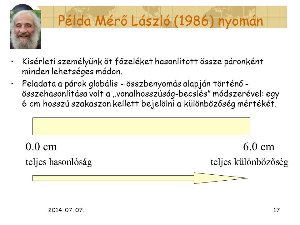 2014. 07. 07.17 Példa Mérő László (1986) nyomán Kísérleti személyünk öt főzeléket hasonlított össze páronként minden lehetséges módon. Feladata a páro