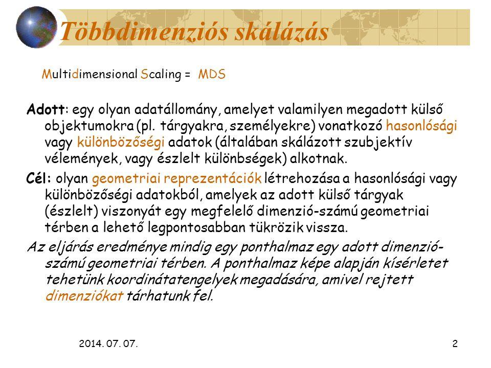 2014. 07. 07.2 Többdimenziós skálázás Multidimensional Scaling = MDS Adott: egy olyan adatállomány, amelyet valamilyen megadott külső objektumokra (pl