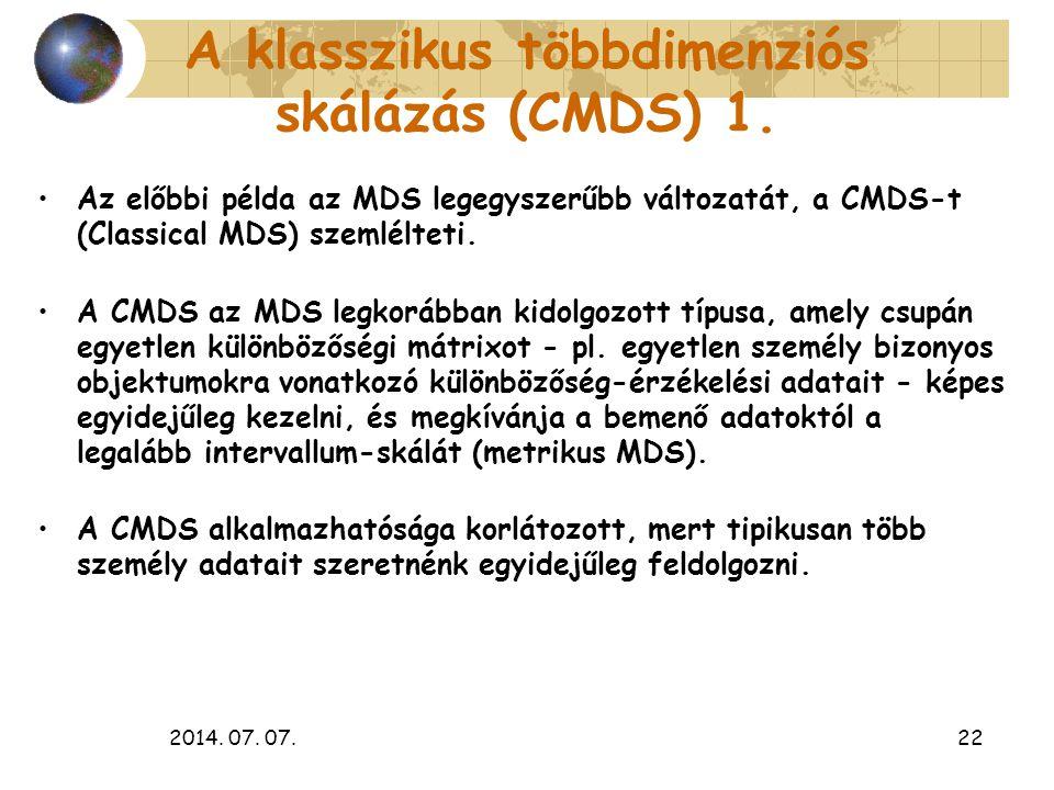 2014. 07. 07.22 A klasszikus többdimenziós skálázás (CMDS) 1. Az előbbi példa az MDS legegyszerűbb változatát, a CMDS-t (Classical MDS) szemlélteti. A