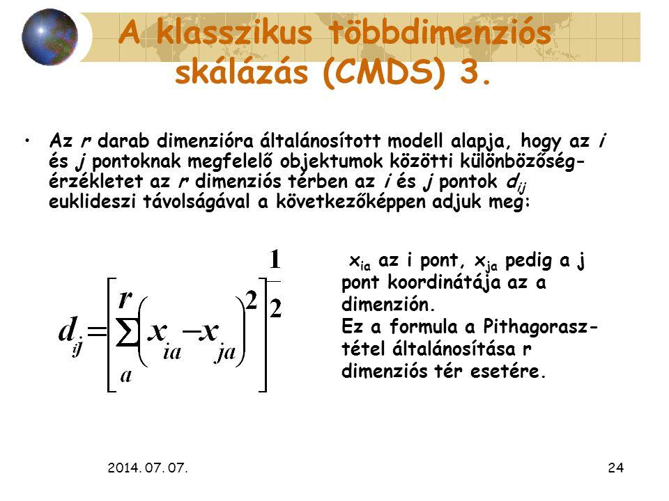 2014. 07. 07.24 A klasszikus többdimenziós skálázás (CMDS) 3. Az r darab dimenzióra általánosított modell alapja, hogy az i és j pontoknak megfelelő o