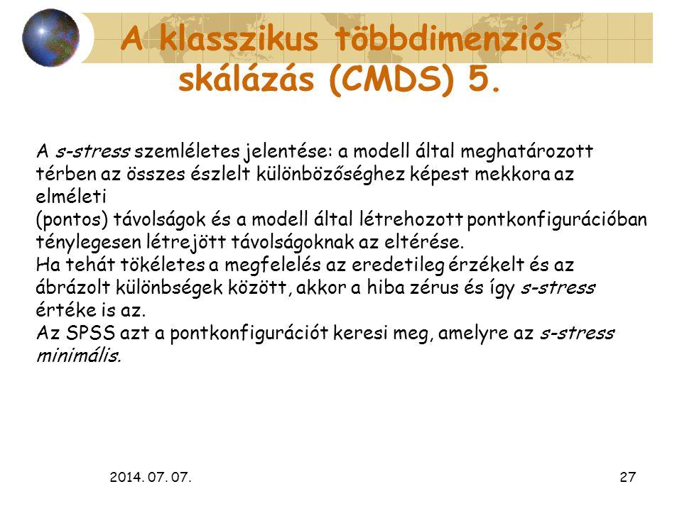 2014. 07. 07.27 A klasszikus többdimenziós skálázás (CMDS) 5. A s-stress szemléletes jelentése: a modell által meghatározott térben az összes észlelt