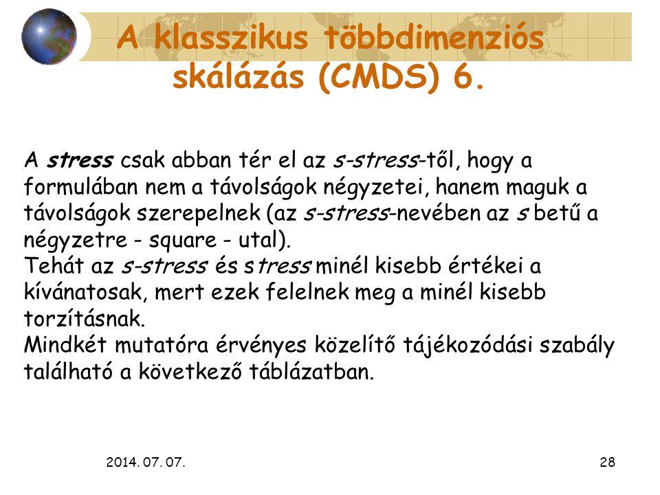 2014. 07. 07.28 A klasszikus többdimenziós skálázás (CMDS) 6. A stress csak abban tér el az s-stress-től, hogy a formulában nem a távolságok négyzetei