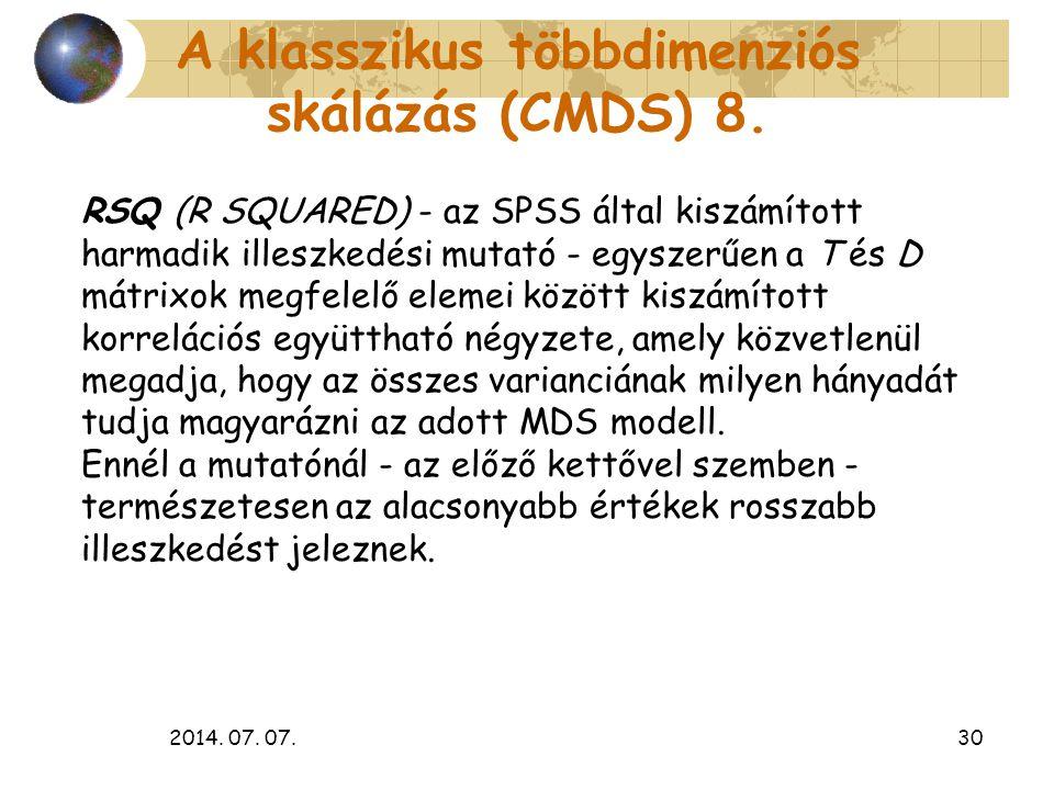 2014. 07. 07.30 A klasszikus többdimenziós skálázás (CMDS) 8. RSQ (R SQUARED) - az SPSS által kiszámított harmadik illeszkedési mutató - egyszerűen a