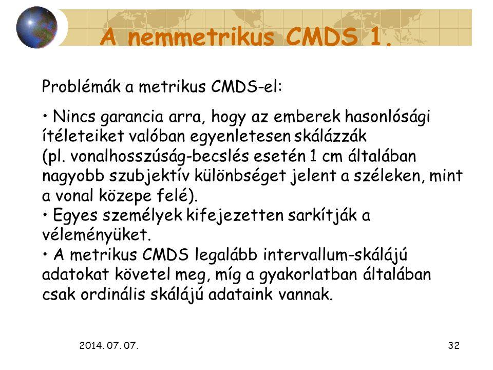 2014. 07. 07.32 A nemmetrikus CMDS 1. Problémák a metrikus CMDS-el: Nincs garancia arra, hogy az emberek hasonlósági ítéleteiket valóban egyenletesen