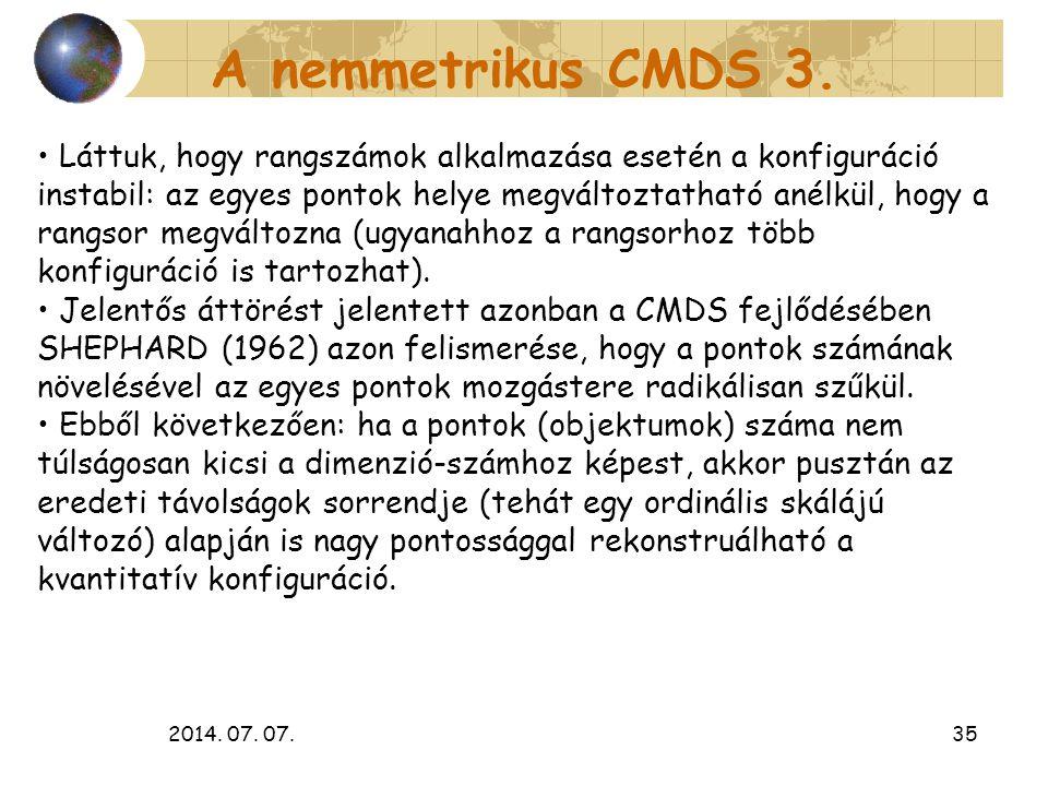 2014. 07. 07.35 A nemmetrikus CMDS 3. Láttuk, hogy rangszámok alkalmazása esetén a konfiguráció instabil: az egyes pontok helye megváltoztatható anélk