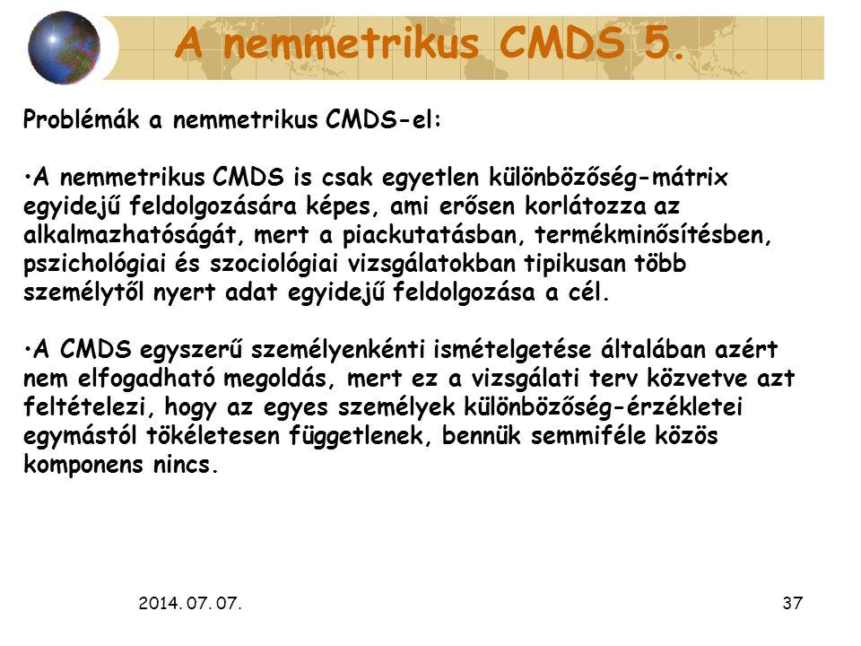 2014. 07. 07.37 A nemmetrikus CMDS 5. Problémák a nemmetrikus CMDS-el: A nemmetrikus CMDS is csak egyetlen különbözőség-mátrix egyidejű feldolgozására