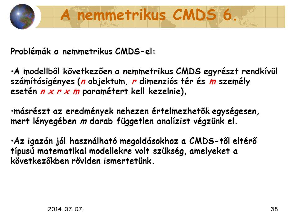 2014. 07. 07.38 A nemmetrikus CMDS 6. Problémák a nemmetrikus CMDS-el: A modellből következően a nemmetrikus CMDS egyrészt rendkívül számításigényes (