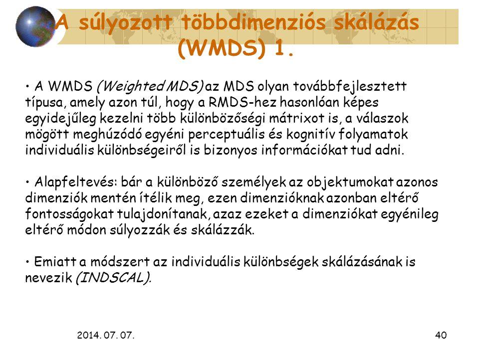 2014. 07. 07.40 A súlyozott többdimenziós skálázás (WMDS) 1. A WMDS (Weighted MDS) az MDS olyan továbbfejlesztett típusa, amely azon túl, hogy a RMDS-