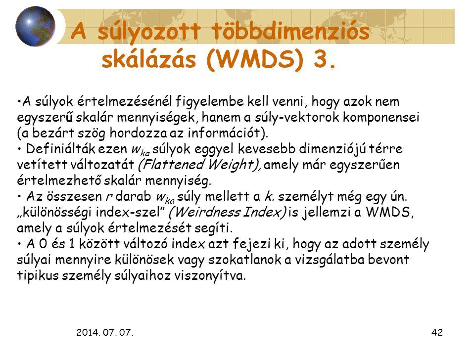 2014. 07. 07.42 A súlyozott többdimenziós skálázás (WMDS) 3. A súlyok értelmezésénél figyelembe kell venni, hogy azok nem egyszerű skalár mennyiségek,