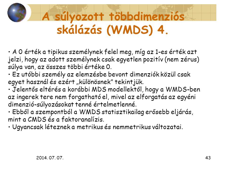 2014. 07. 07.43 A súlyozott többdimenziós skálázás (WMDS) 4. A 0 érték a tipikus személynek felel meg, míg az 1-es érték azt jelzi, hogy az adott szem